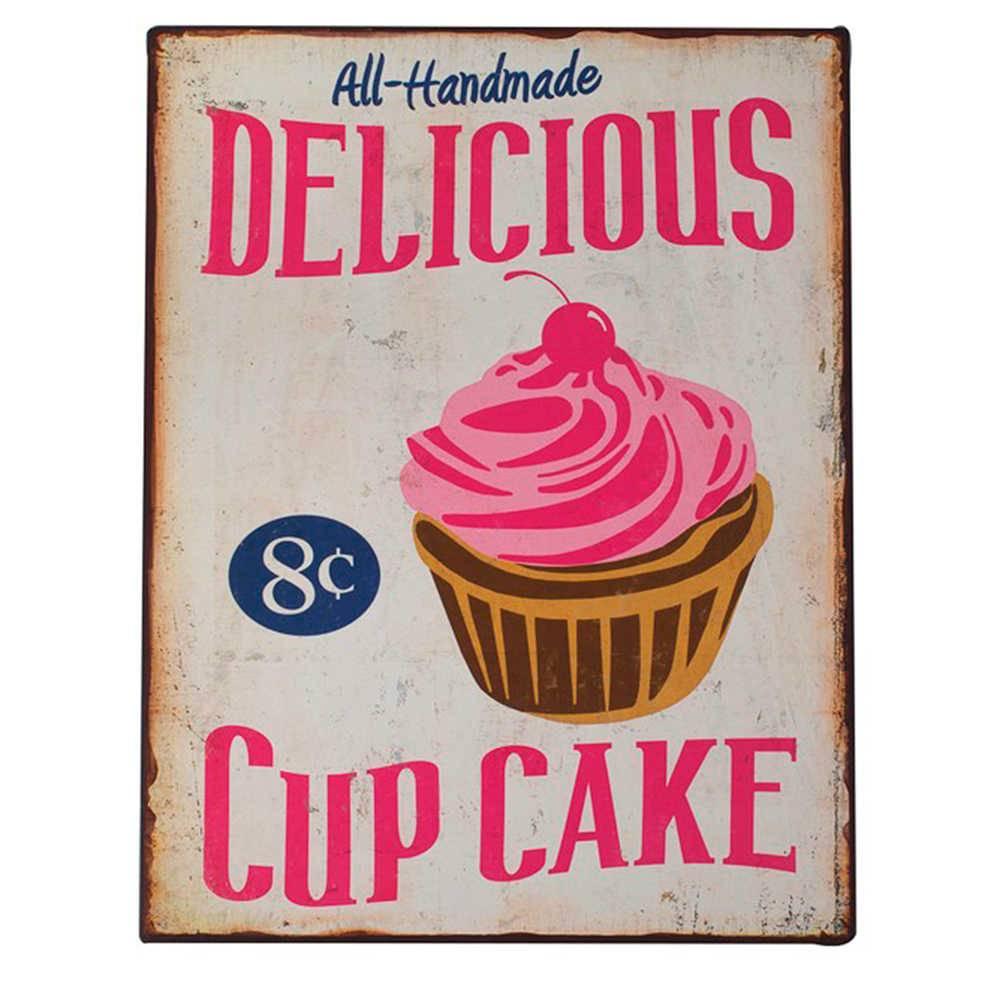 Placa Decorativa Delicious Cupcake com Fundo Bege em Metal - 40x31 cm