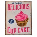 Placa Decorativa Delicious Cupcake com Fundo Bege em Metal