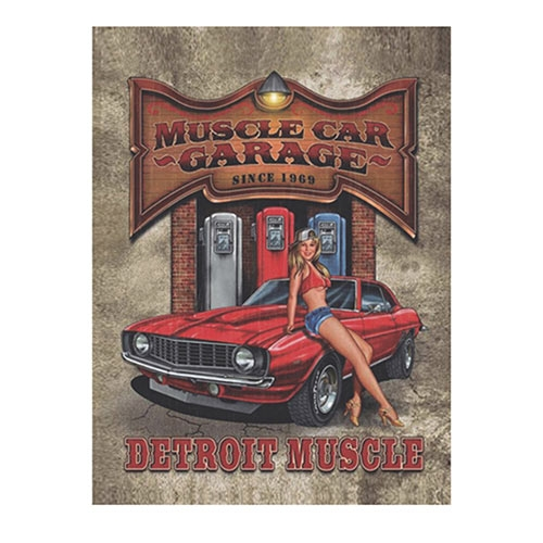 Placa Decorativa Detroit Muscle Grande em Metal - 40x30cm