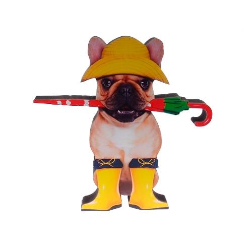 Placa Decorativa Dog Chuva em Madeira - 25x25 cm