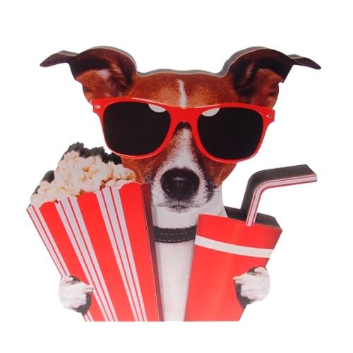 Placa Decorativa Dog Cine em Madeira - 23x23 cm
