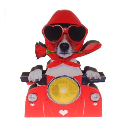 Placa Decorativa Dog Lambreta em Madeira - 25x19 cm