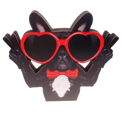 Placa Decorativa Dog Óculos em Madeira - 26x23 cm