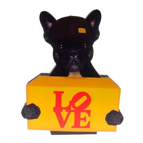 Placa Decorativa Dog Post Love em Madeira - 25x21 cm