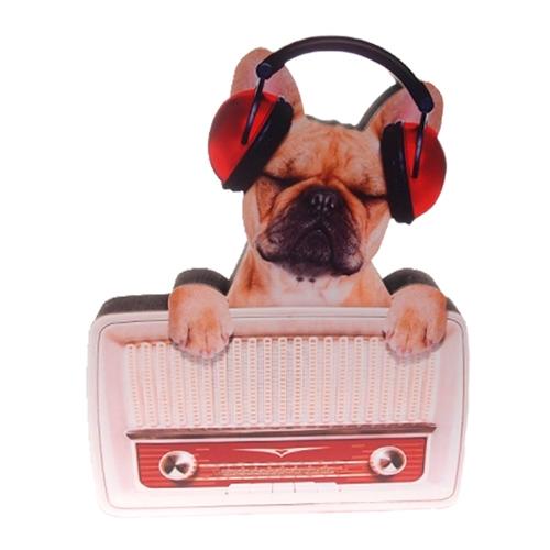 Placa Decorativa Dog Rádio em Madeira - 27x21 cm