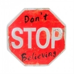 Placa Decorativa Don t Stop Believing Shabby Chic