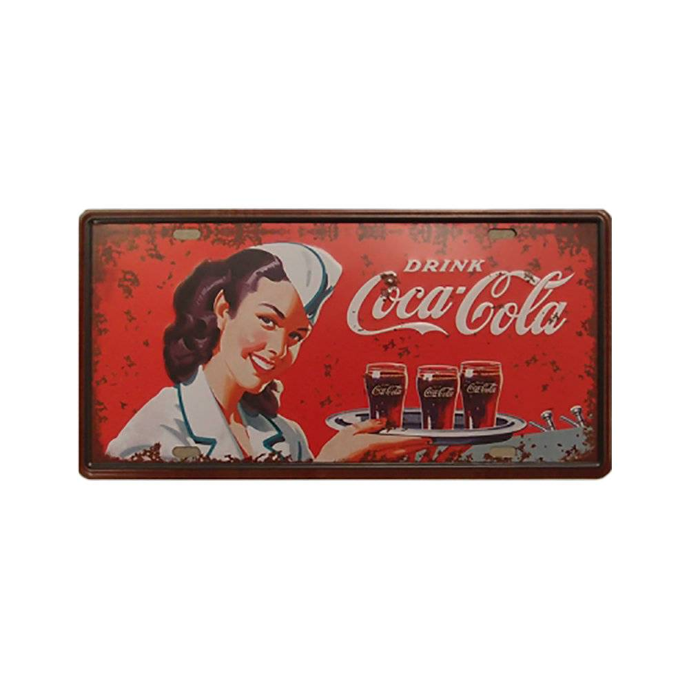 Placa Decorativa Drink Coca-Cola Vermelho Pátina em Metal - com Relevo - 30x15 cm
