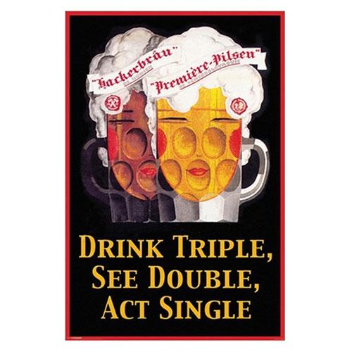 Placa Decorativa Drink Triple Média em Metal - 30x20cm