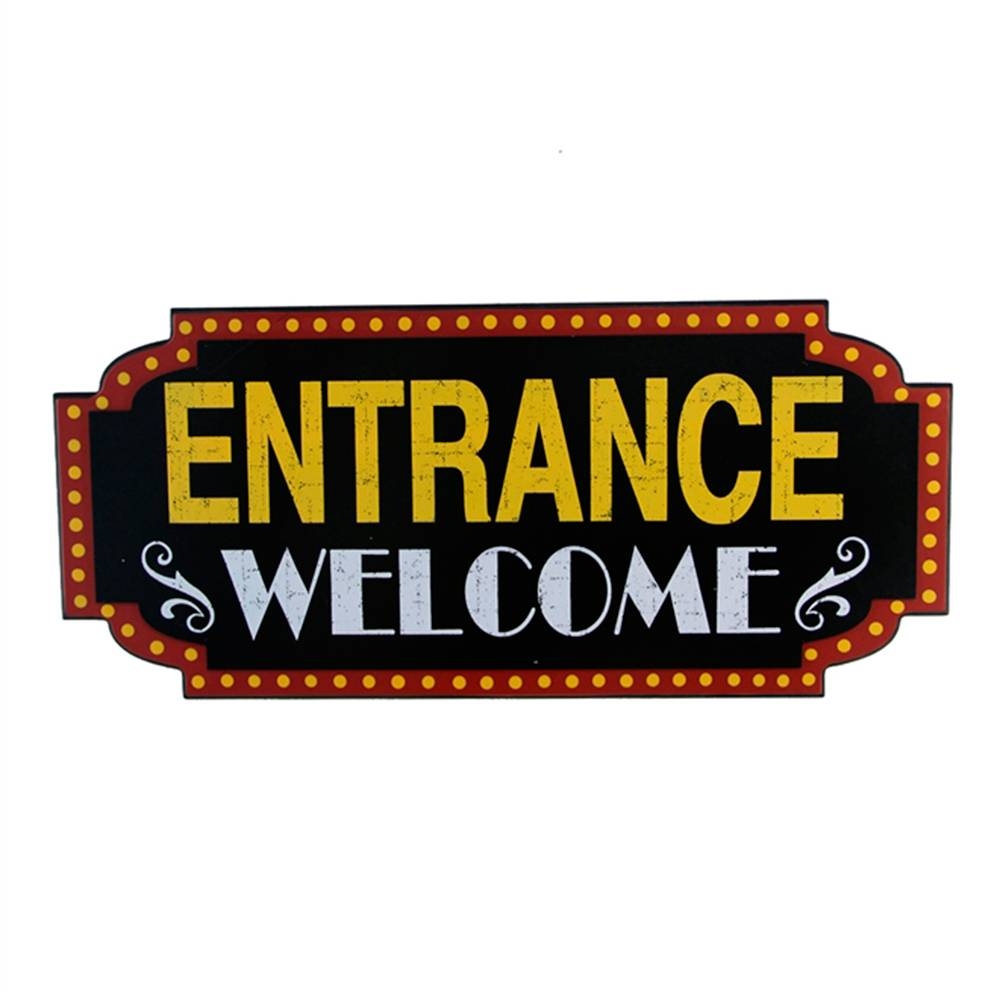 Placa Decorativa Entrance Welcome Teatro Antigo em Madeira - 59x27 cm