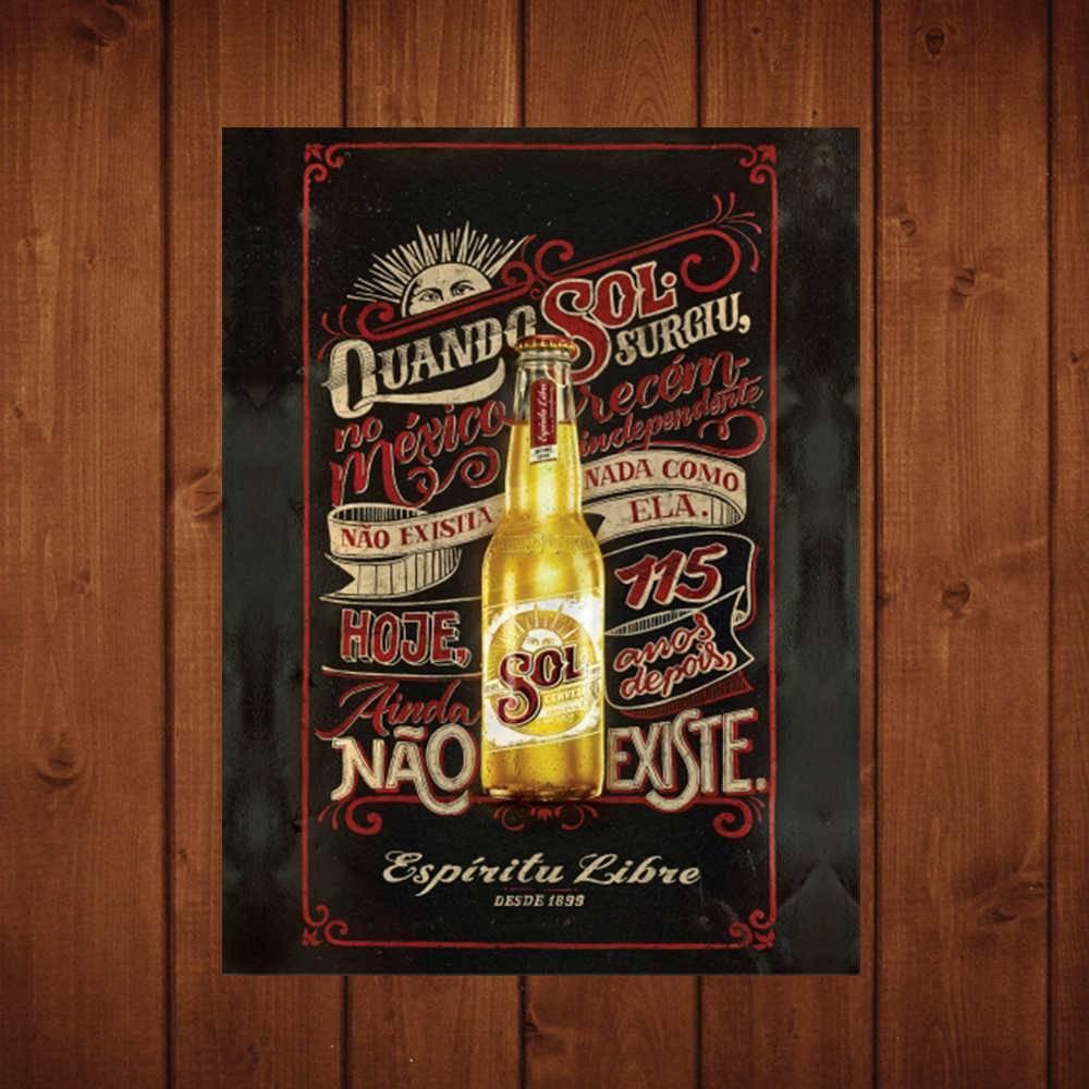Placa Decorativa Espiritu Libre com Impressão Digital em Metal - 40x30 cm