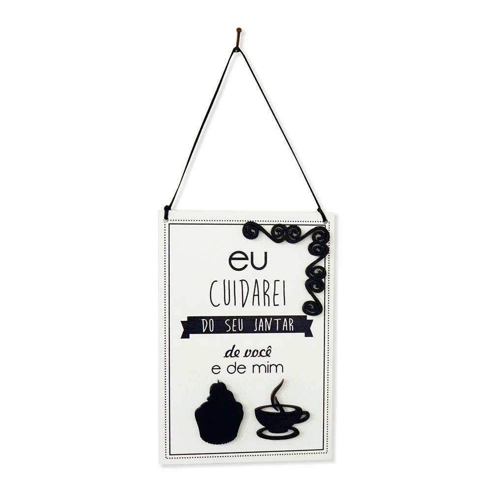Placa Decorativa Eu Cuidarei Branco e Preto em MDF com Apliques - 40x14 cm