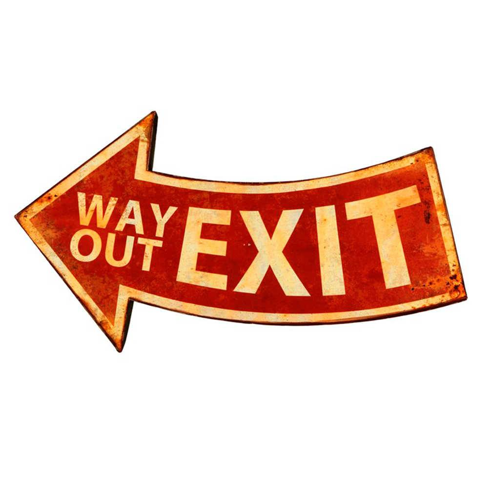 Placa Decorativa Exit em Metal - 60x34 cm