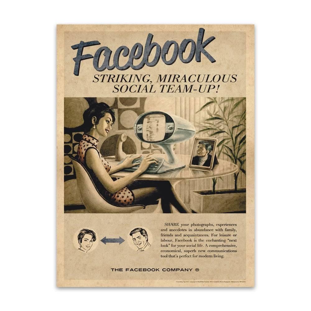 Placa Decorativa Facebook Vintage em Metal - 40x30cm