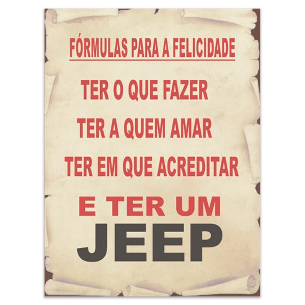 Placa Decorativa Fórmulas para a Felicidade - Jeep - Grande em Metal - 40x30 cm