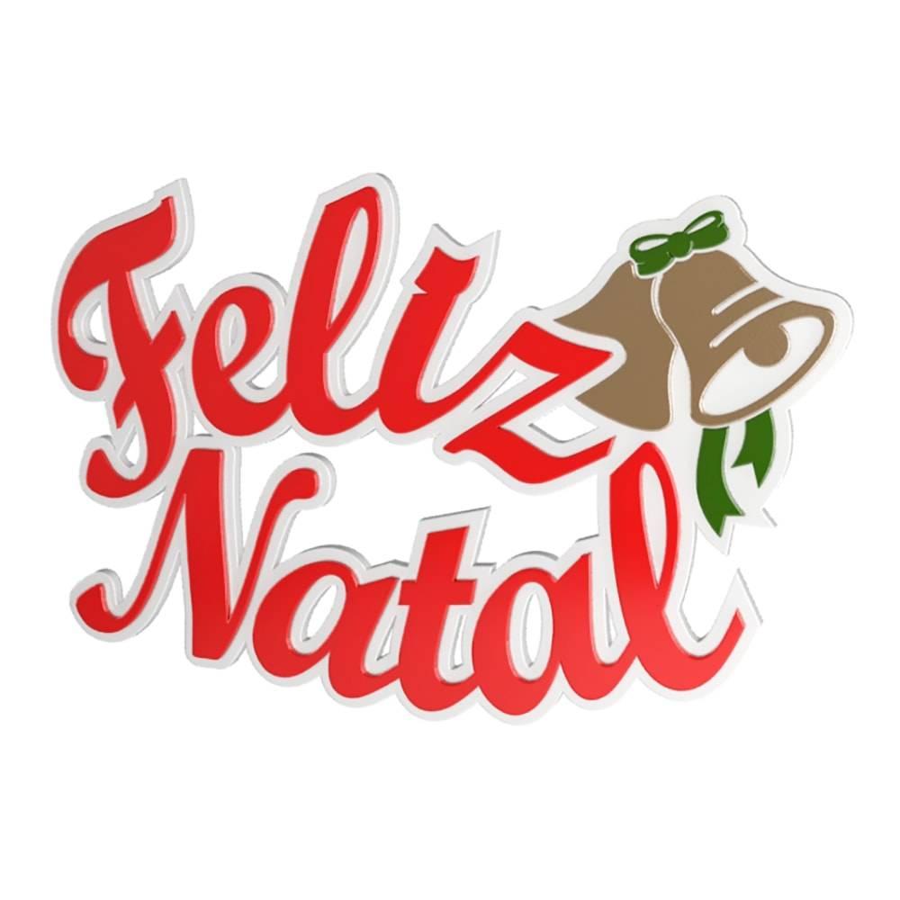 Placa Decorativa Feliz Natal Vermelho em MDF - 35x23 cm