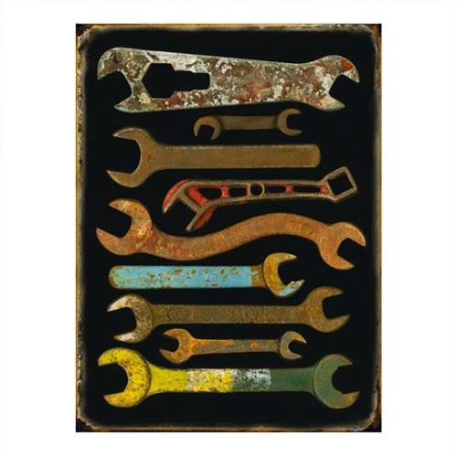 Placa Decorativa Ferramentas Média em Metal - 30x20 cm