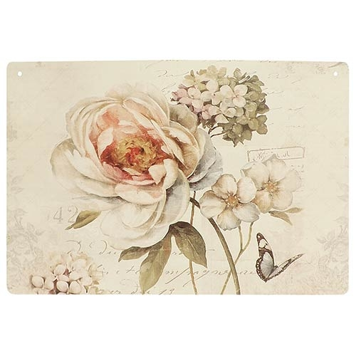 Placa Decorativa Flor Hortência Rosa Média em Metal - 30x20cm