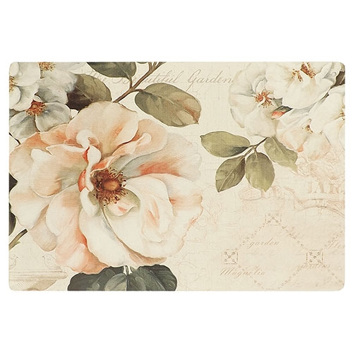 Placa Decorativa Flor Magnólia Grande em Metal - 40x30cm