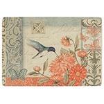 Placa Decorativa Floral Beija-Flor Grande em Metal - 40x30cm