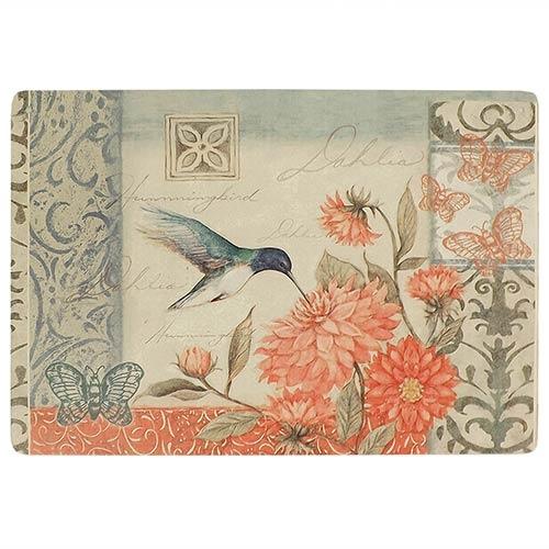 Placa Decorativa Floral Beija-Flor Média em Metal - 30x20cm
