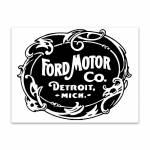 Placa Decorativa Ford Motor Preto e Branco em Metal - 40x30cm