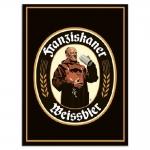 Placa Decorativa Franziskaner Logo Preto Grande em Metal - 40x30 cm