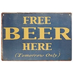 Placa Decorativa Free Beer Here Média em Metal - 30x20cm