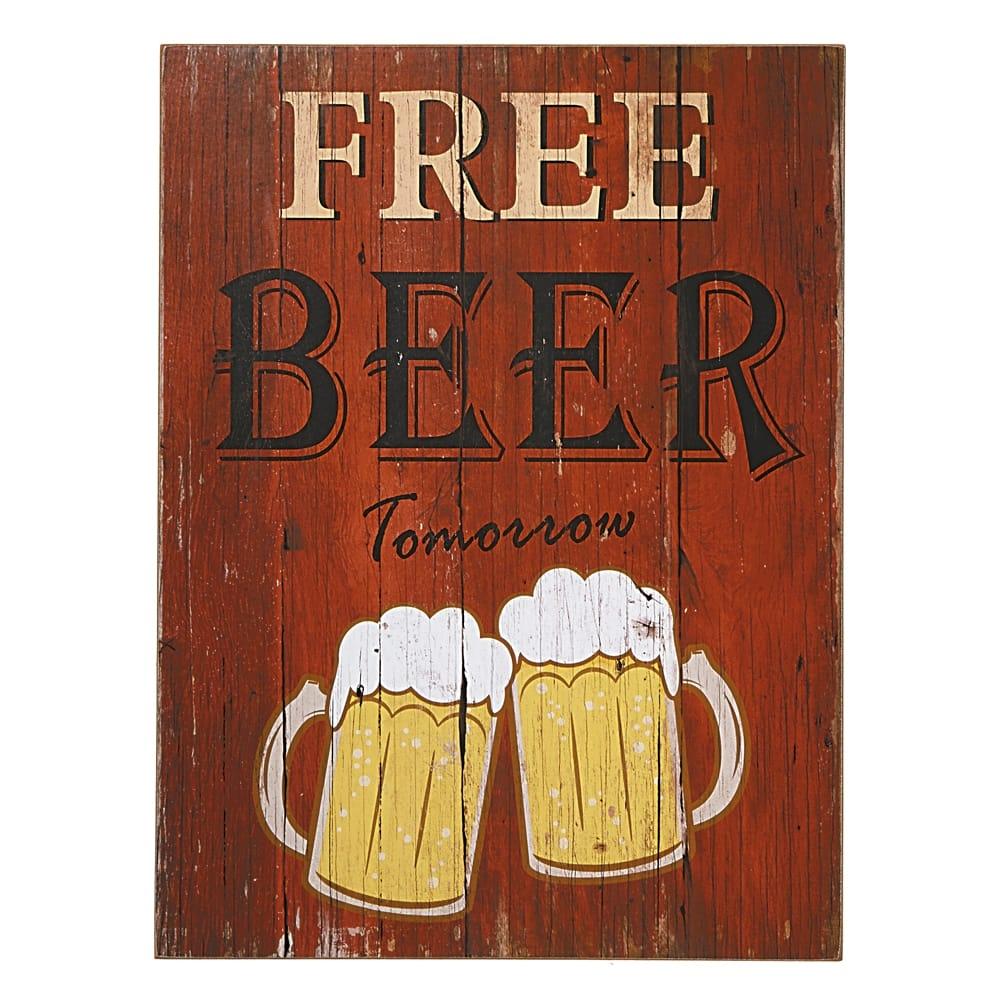 Placa Decorativa Free Beer Tomorrow Vermelho em MDF - 40x30 cm