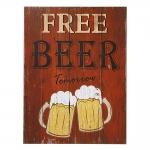 Placa Decorativa Free Beer Tomorrow Vermelho em MDF