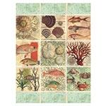 Placa Decorativa Frutos do Mar Média em Metal - 30x20cm