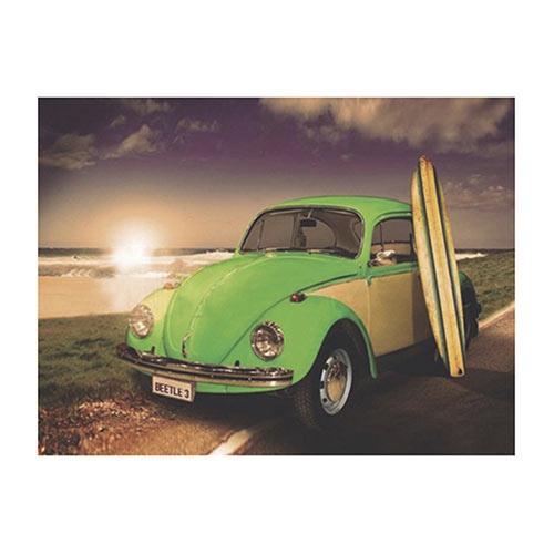 Placa Decorativa Fusca Verde Grande em Metal - 40x30cm
