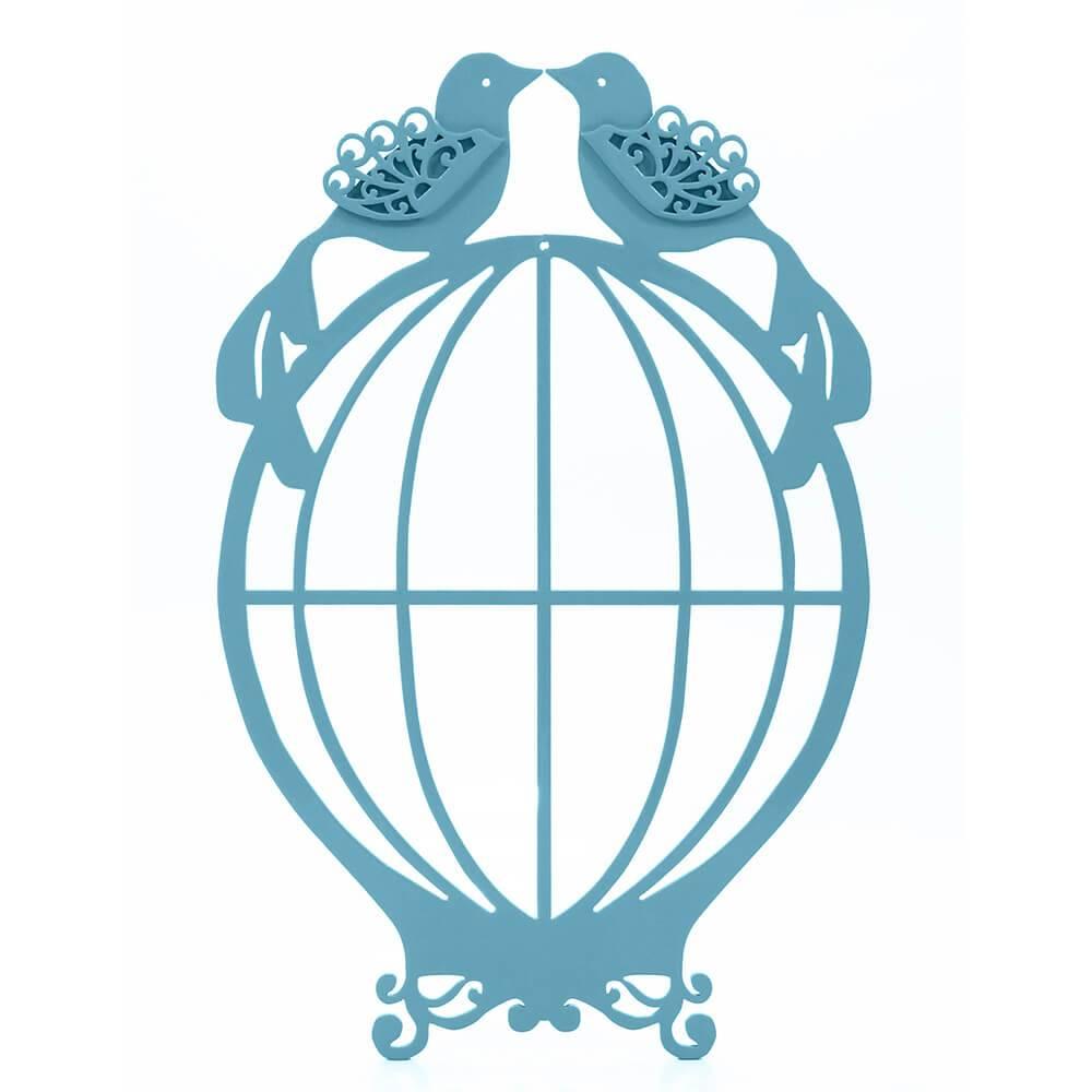 Placa Decorativa Gaiola Provençal Casal de Pássaros Aquamarine Média em MDF - 33x22 cm