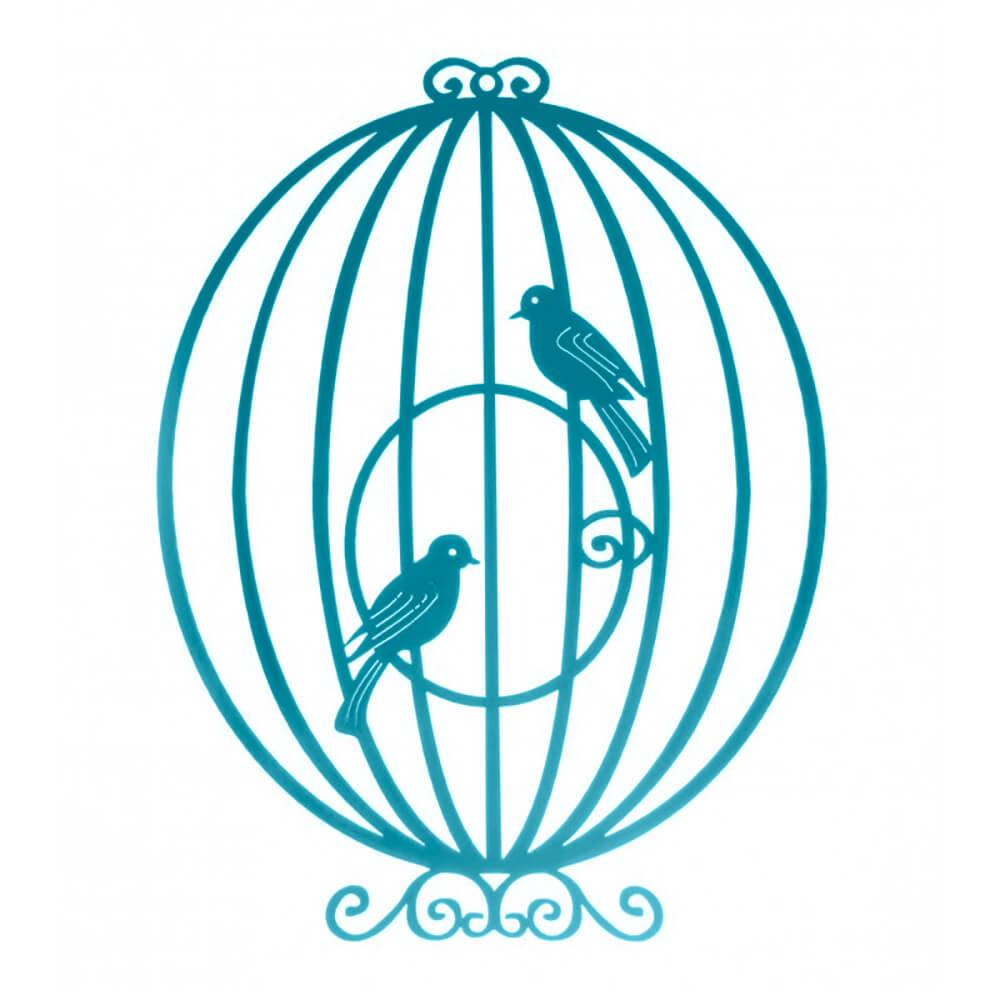 Placa Decorativa Gaiola Provençal Circular Aquamarine Pequena em MDF - 23x17 cm
