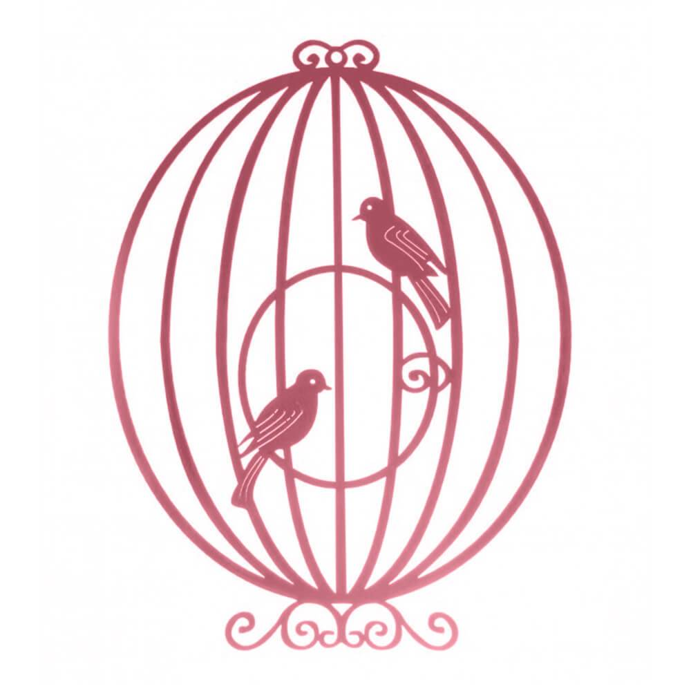 Placa Decorativa Gaiola Provençal Circular Rosa Pequena em MDF - 23x17 cm