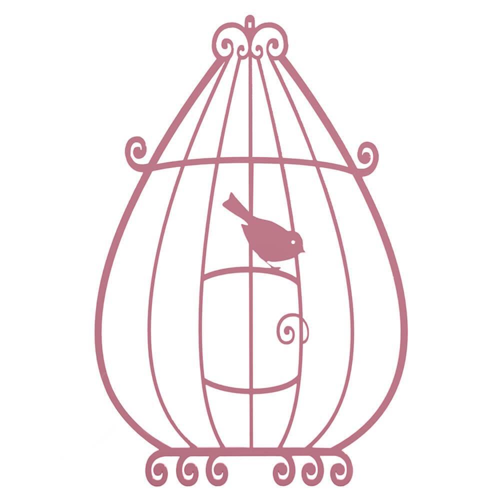 Placa Decorativa Gaiola Provençal com um Pássaro Rosa em MDF - 45x30 cm
