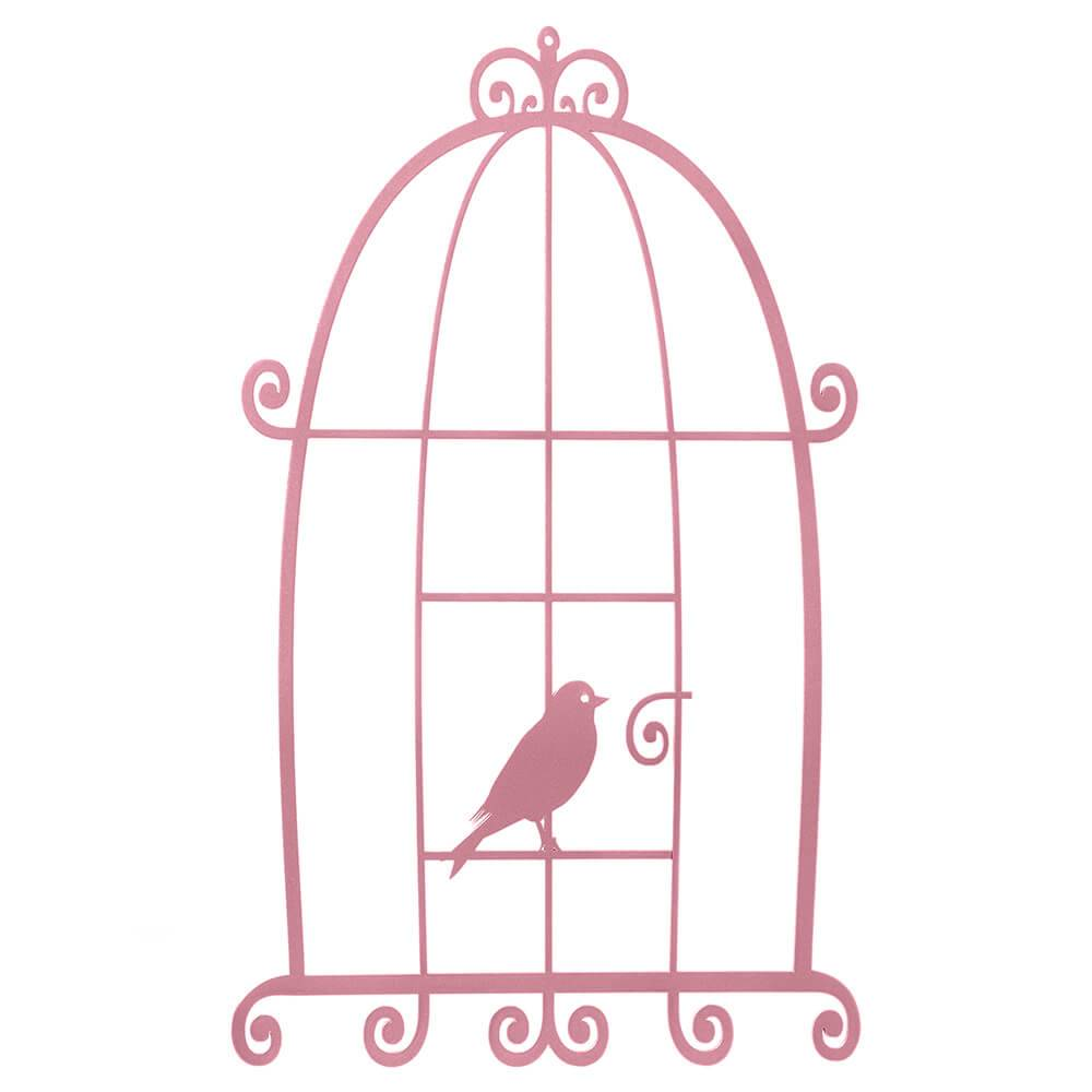 Placa Decorativa Gaiola Provençal Sweet Home Grande Rosa em MDF - 45x27 cm