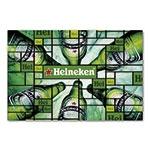 Placa Decorativa Garrafas de Cerveja Heineken Média em Metal - 30x20 cm