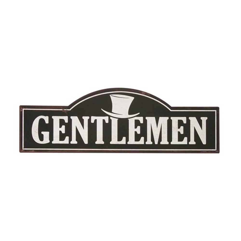 Placa Decorativa Gentlemen Preto e Branco em Metal - 49x16 cm