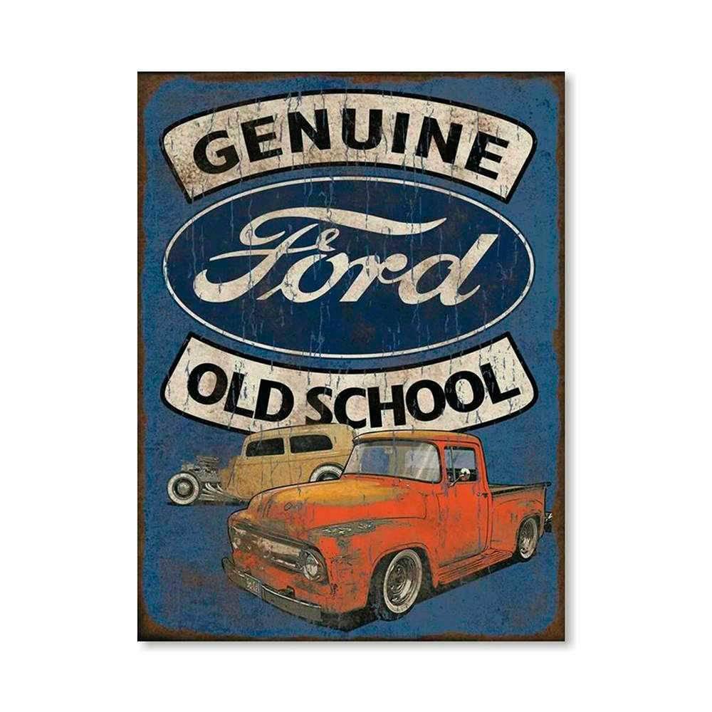 Placa Decorativa Genuine Old School com Impressão Digital em Metal - 30x20 cm