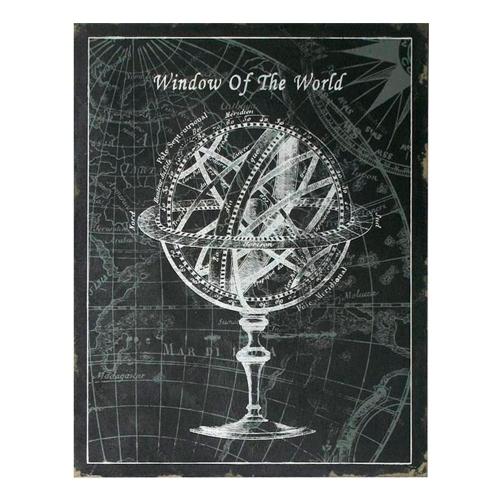 Placa Decorativa Globo Window Of The World Preto e Branco II em Metal - 90x70 cm