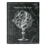Placa Globo Window Of The World Preto e Branco II em Metal