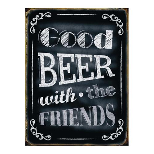 Placa Decorativa Good Beer Grande em Metal -  40x30 cm