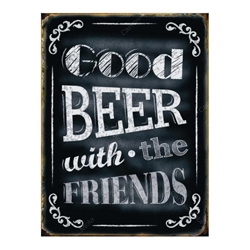 Placa Decorativa Good Beer Grande em Metal