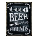 Placa Decorativa Good Beer Grande em Metal -  40x30 cm