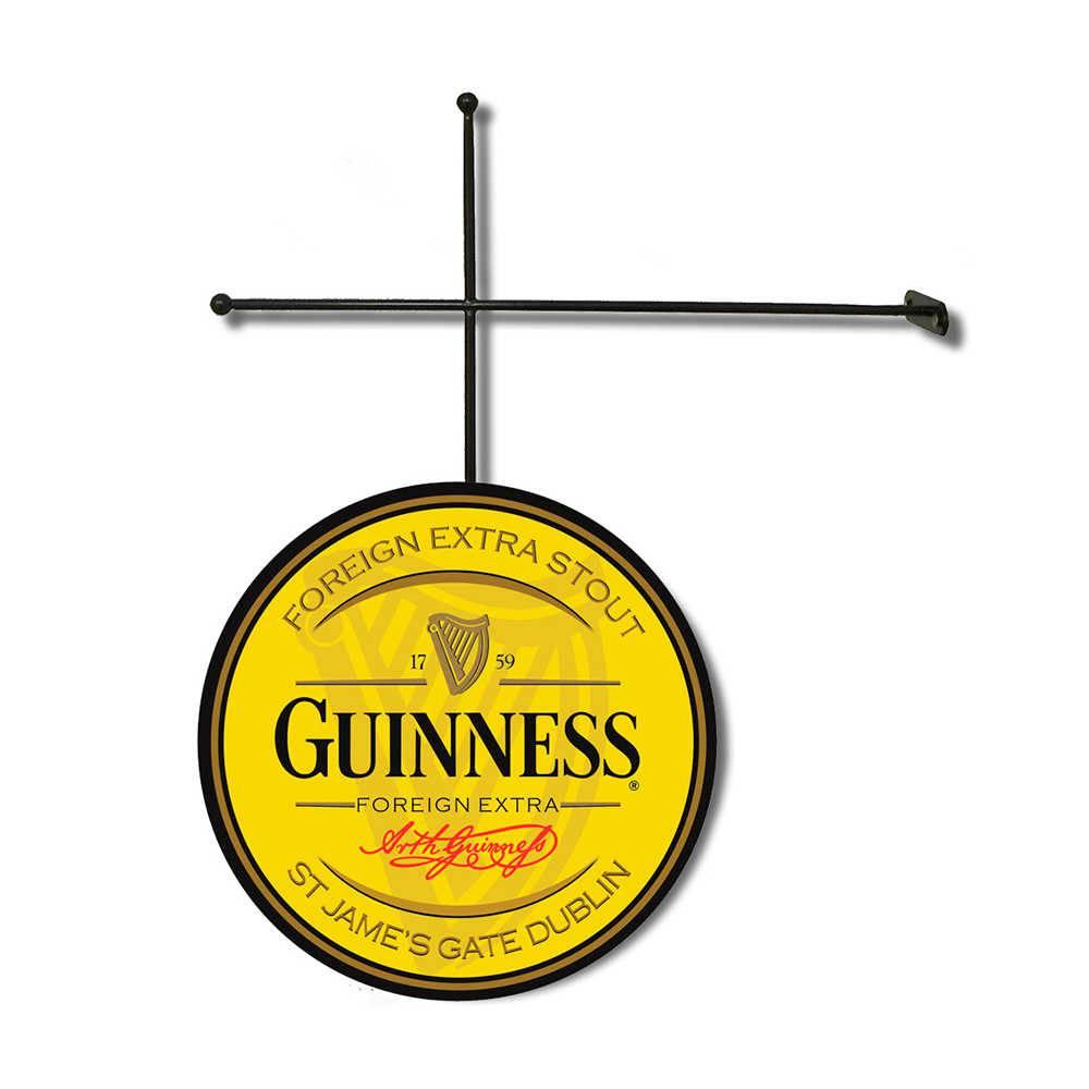 Placa Decorativa Guinness Amarela com Suporte em Metal - 30x30 cm