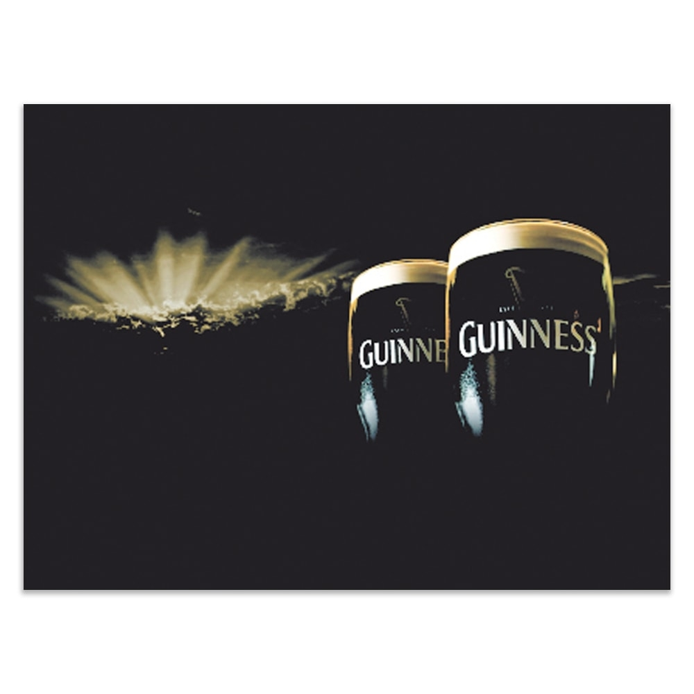 Placa Decorativa Guinness Preta Grande em Metal - 40x30 cm