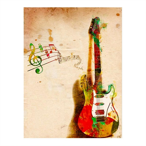 Placa Decorativa Guitarra Grande em Metal -  40x30 cm