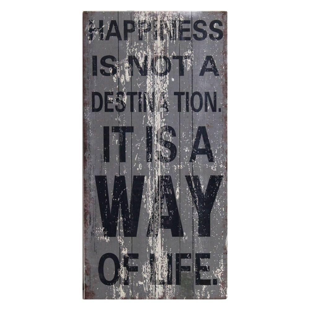 Placa Decorativa Happiness Cinza em Madeira - 80x40 cm