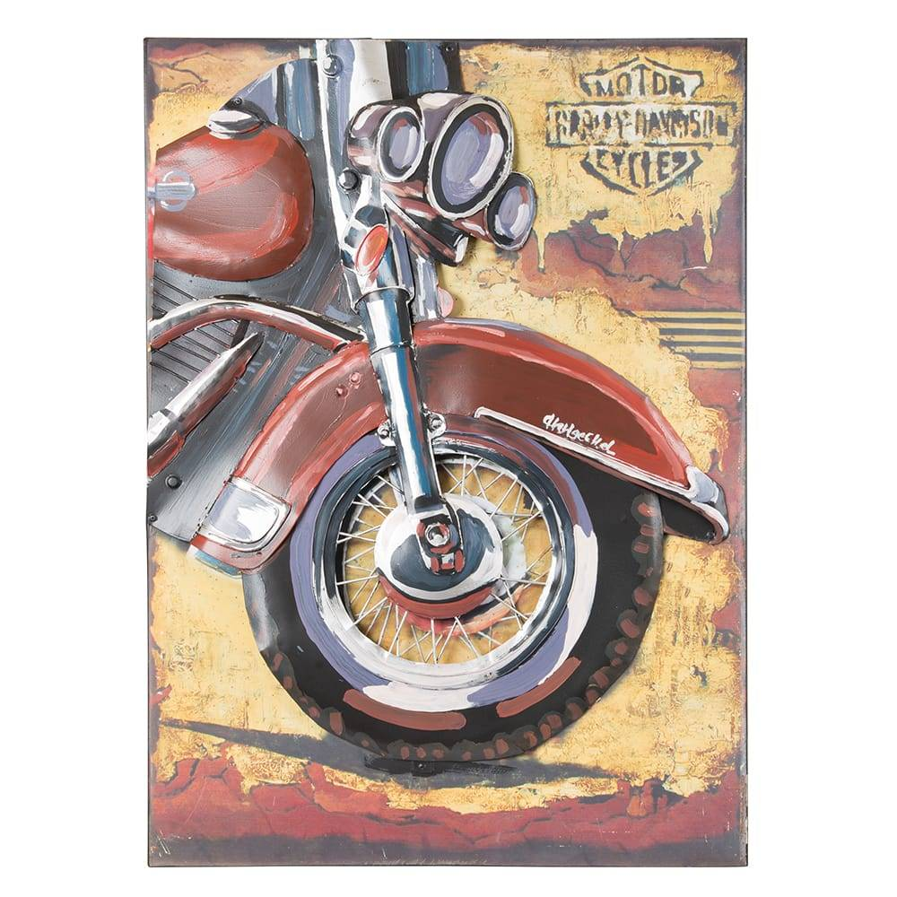 Placa Decorativa Harley Davidson Front em Ferro - 70x50 cm