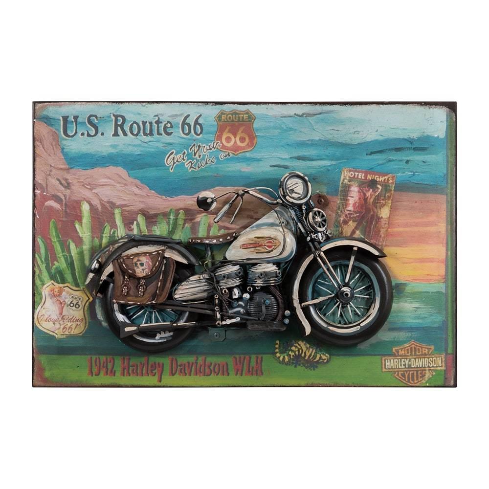 Placa Decorativa Harley Davidson Motorcycle 1942 em Ferro - 45x30 cm